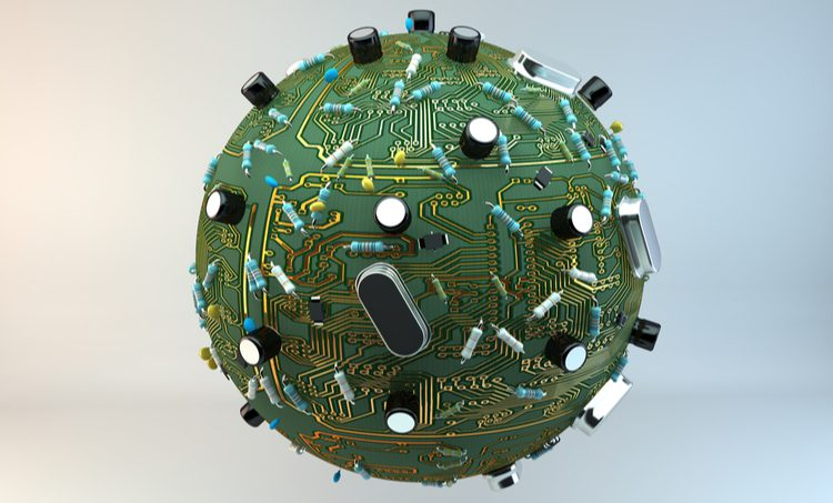 Globe made of electronic circuits and components