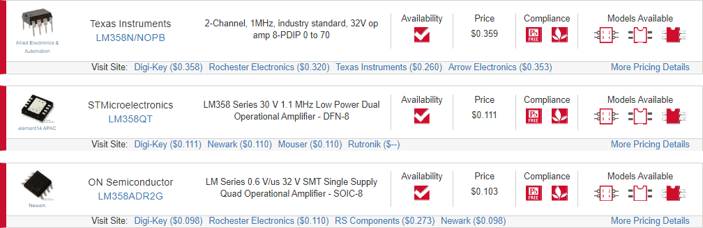 LM358 datasheet and op-amp search results