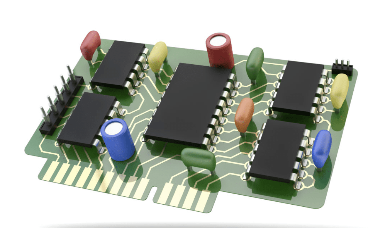 A complex 3D model containing multiple circuits.