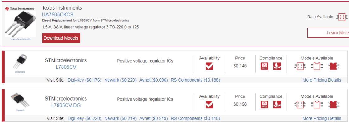 Variants of the L7805CV in the Ultra Librarian search engine.