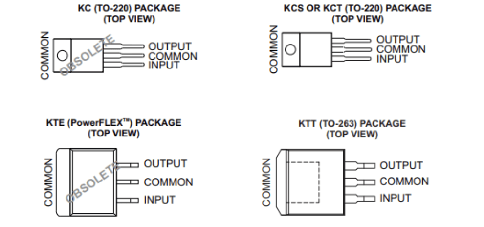 Pin configurations of the update to the L7805CV, the 𝞵A7805CKCS, from its datasheet.