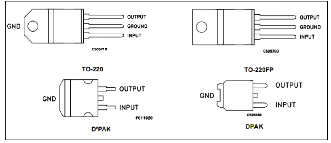 Pin configurations of the L7805CV and variants from its datasheet.