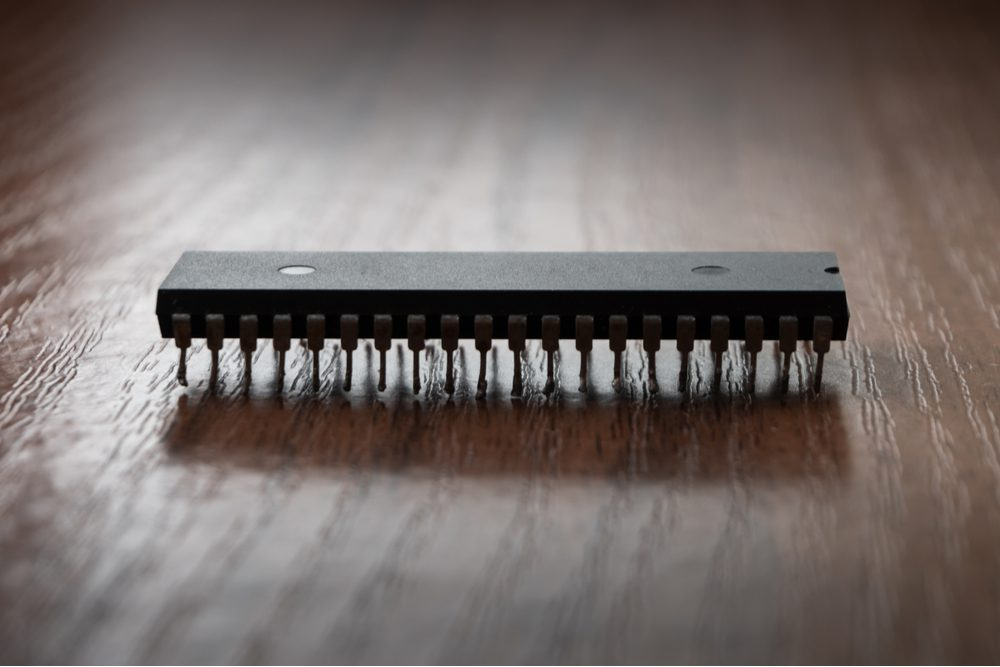 A microchip containing an integrated circuit.