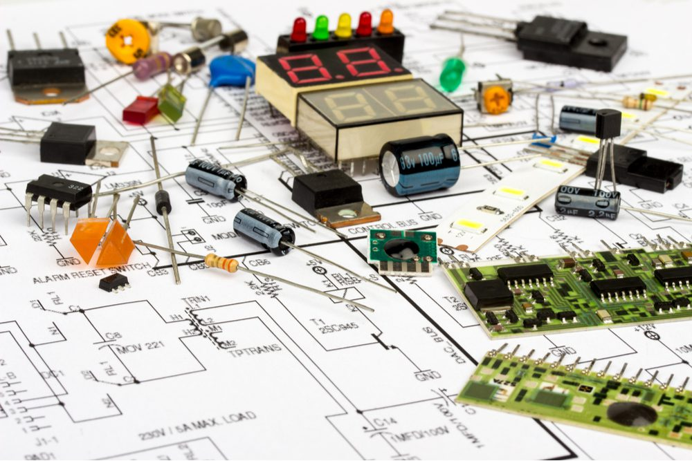 Many electronic components—including capacitors, integrated circuits, and resistors.