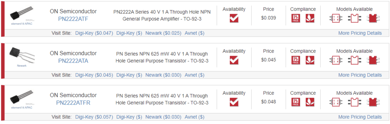 Variants of the PN2222A in the Ultra Librarian search engine.