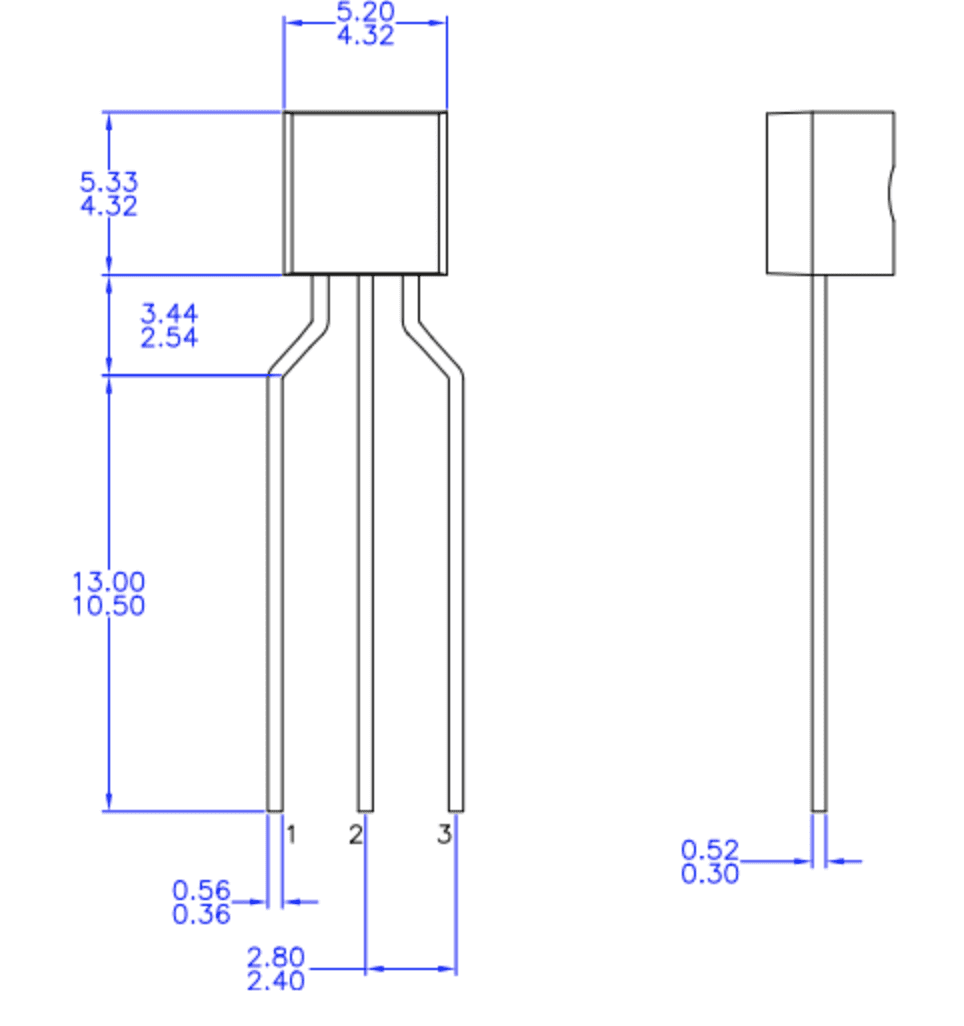 PN2222A dimensions, from its datasheet.