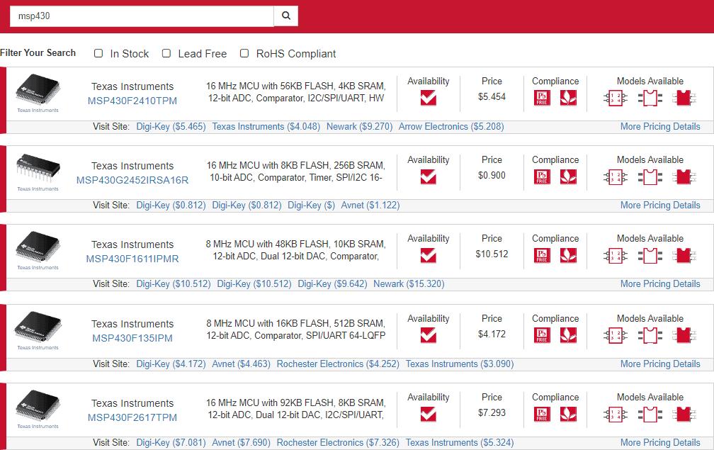 MSP430 datasheet search