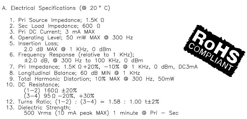Electrical specs for the MET-24