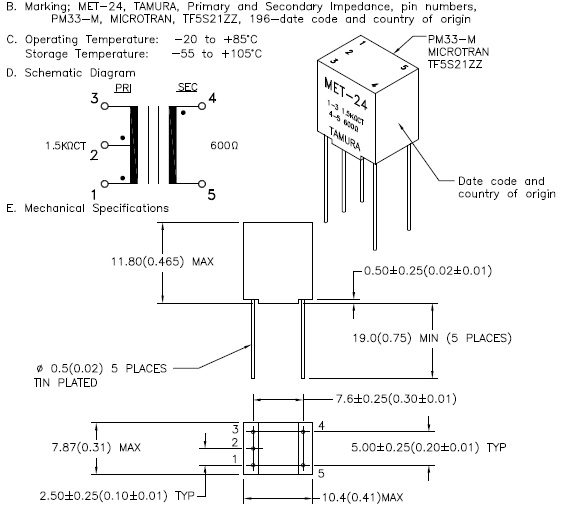 MET-24 schematic, pinout, footprint, and physical dimensions