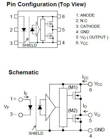 TLP700 schematic and pinout