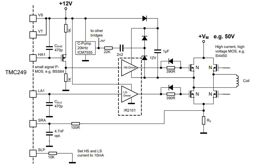 TMC249 dual full-bridge MOSFET driver