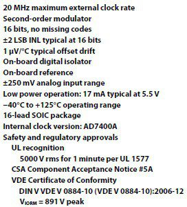 AD7401A summary of features