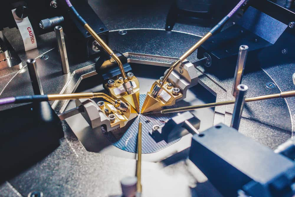 Testing on a semiconductor wafer