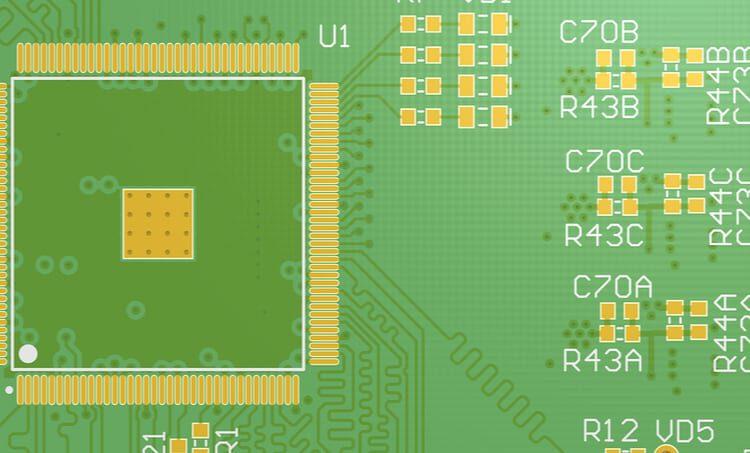 PCB layout with silkscreen fiducials